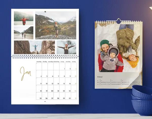Een jaarkalender met eigen foto's